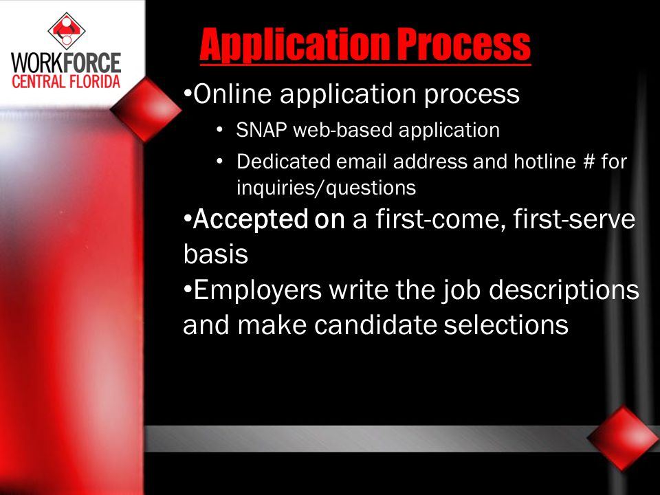 Application Process Online application process SNAP web-based application Dedicated email address and hotline # for inquiries/questions Accepted on a