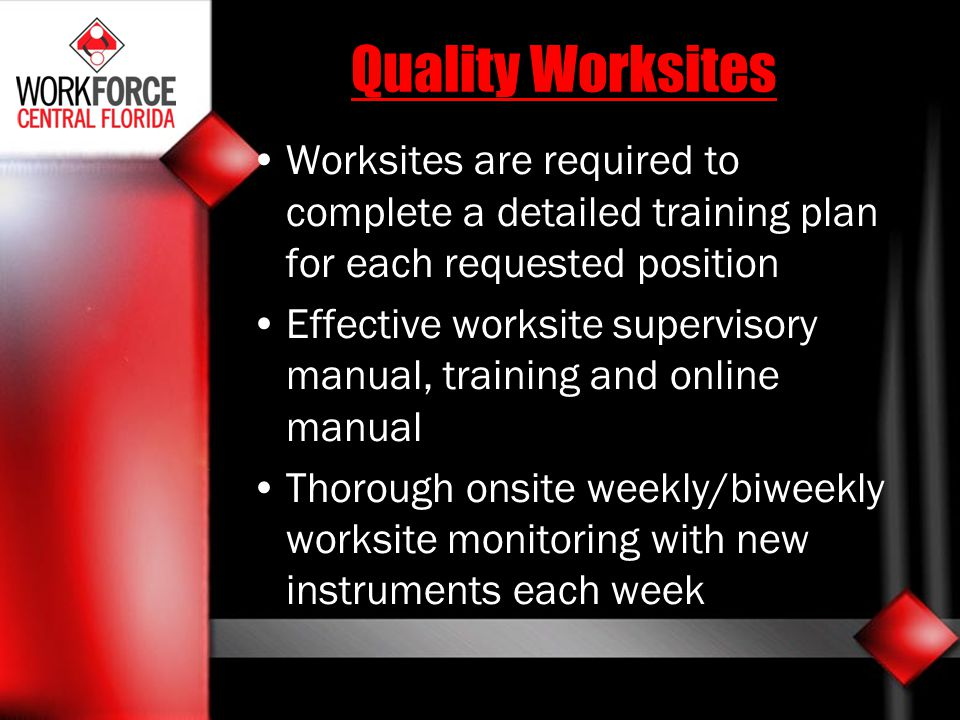 Quality Worksites Worksites are required to complete a detailed training plan for each requested position Effective worksite supervisory manual, train