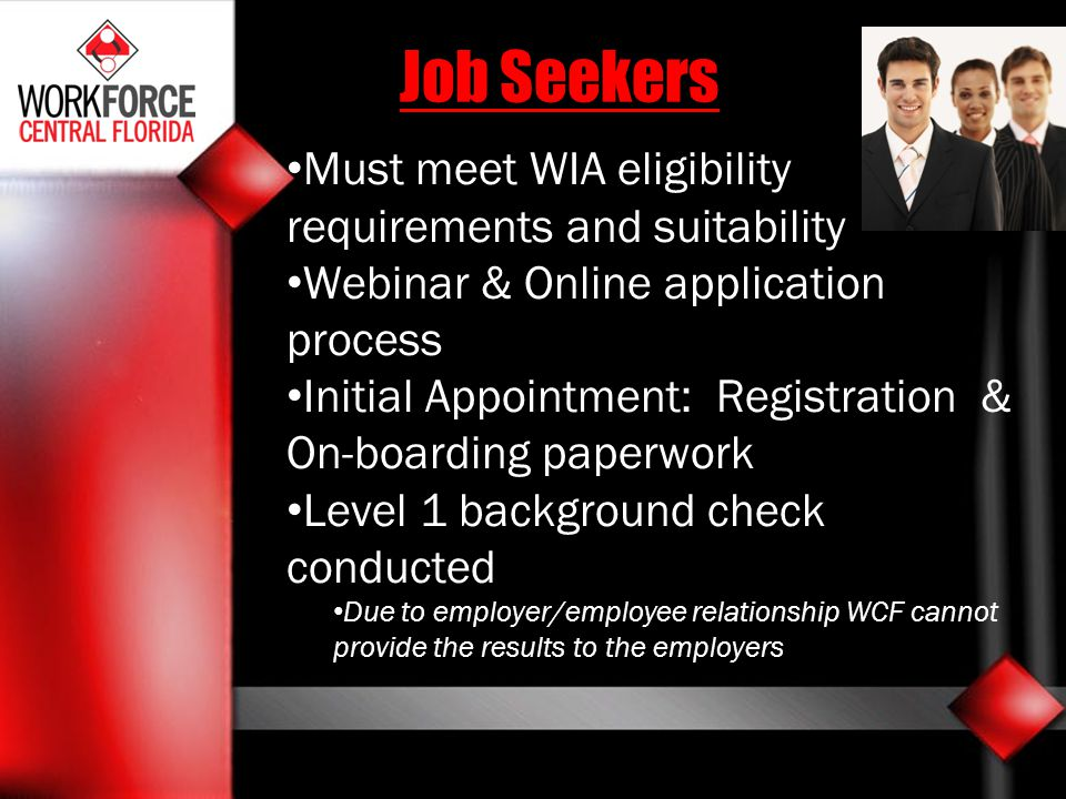 Must meet WIA eligibility requirements and suitability Webinar & Online application process Initial Appointment: Registration & On-boarding paperwork