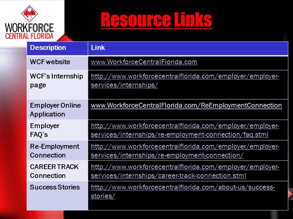 Resource Links DescriptionLink WCF websitewww.WorkforceCentralFlorida.com WCFs Internship page http://www.workforcecentralflorida.com/employer/employe