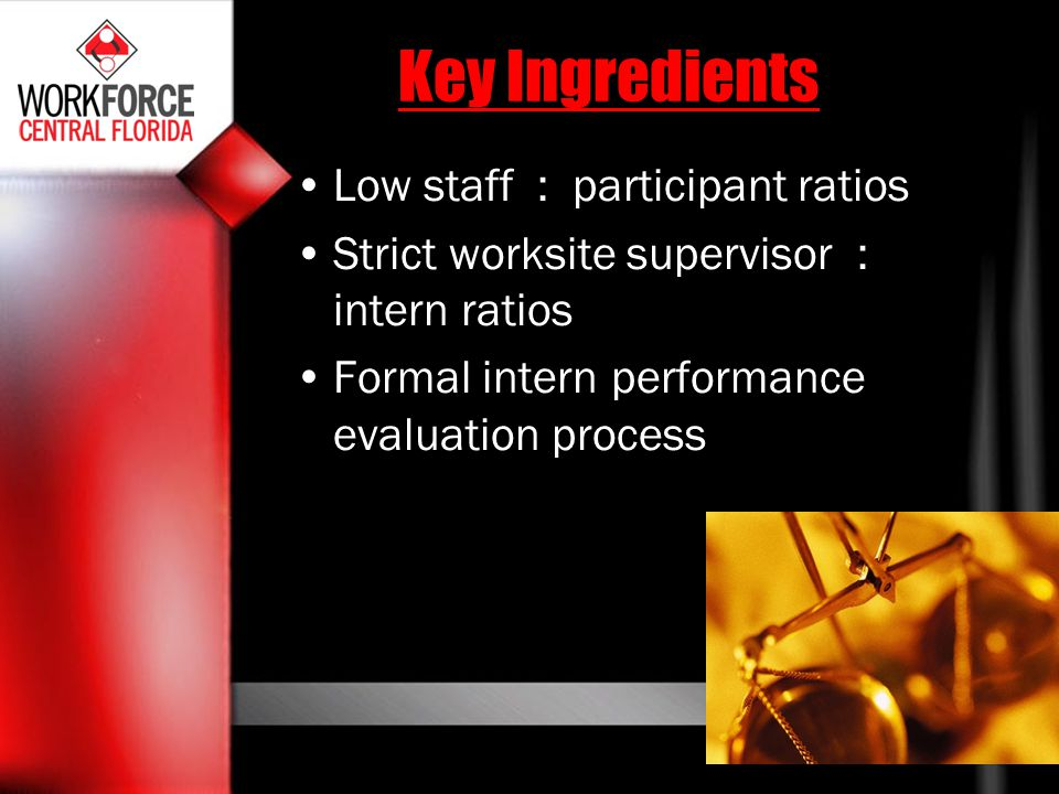 Key Ingredients Low staff : participant ratios Strict worksite supervisor : intern ratios Formal intern performance evaluation process
