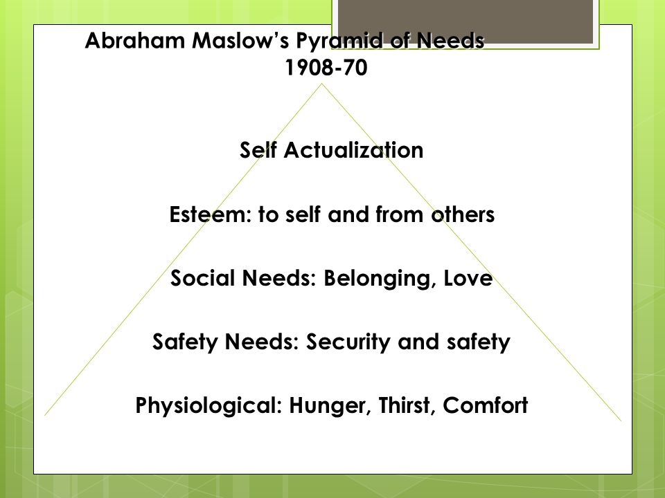 Abraham Maslows Pyramid of Needs 1908-70 Self Actualization Esteem: to self and from others Social Needs: Belonging, Love Safety Needs: Security and s