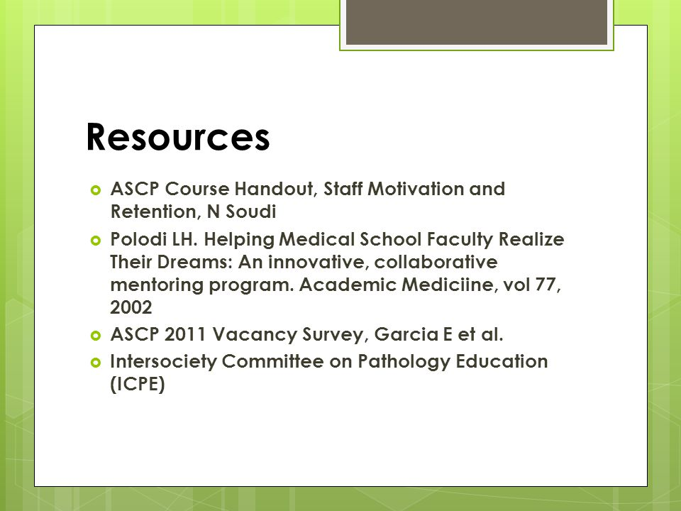 Resources ASCP Course Handout, Staff Motivation and Retention, N Soudi Polodi LH.