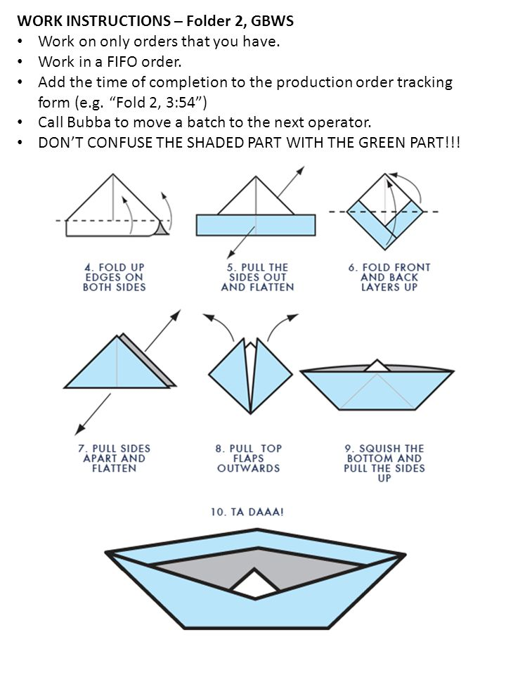 WORK INSTRUCTIONS – Folder 2, WBGS Dont FORGET!.This image is accurate except the colors.