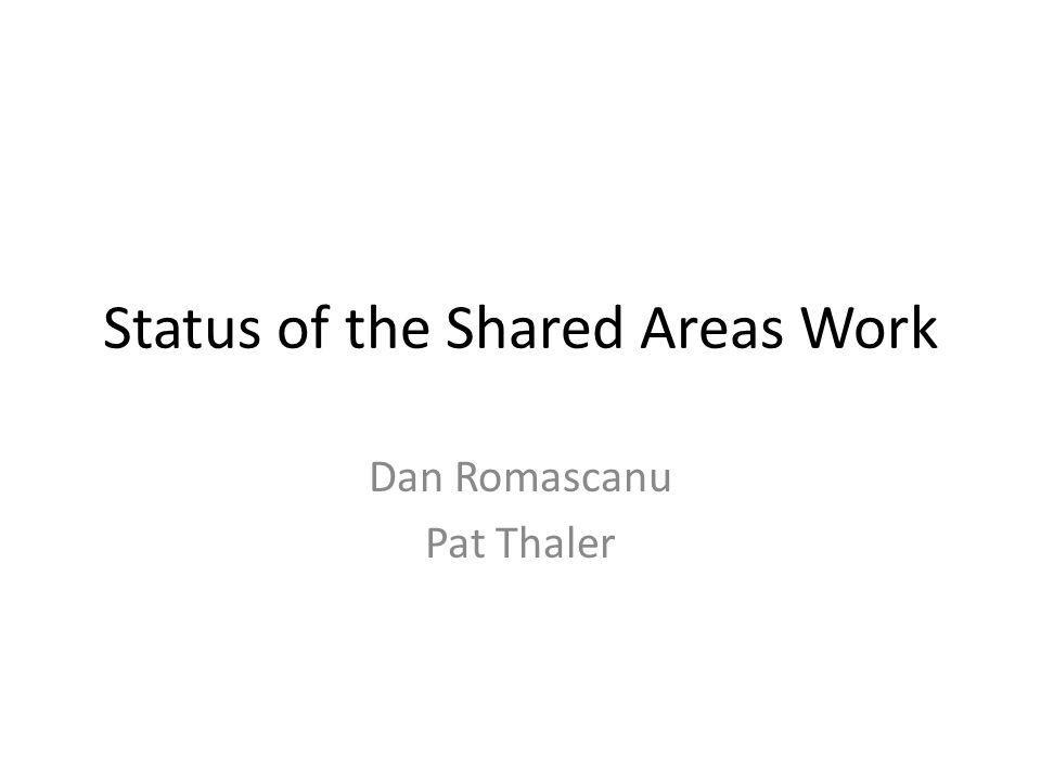 Status of the Shared Areas Work Dan Romascanu Pat Thaler