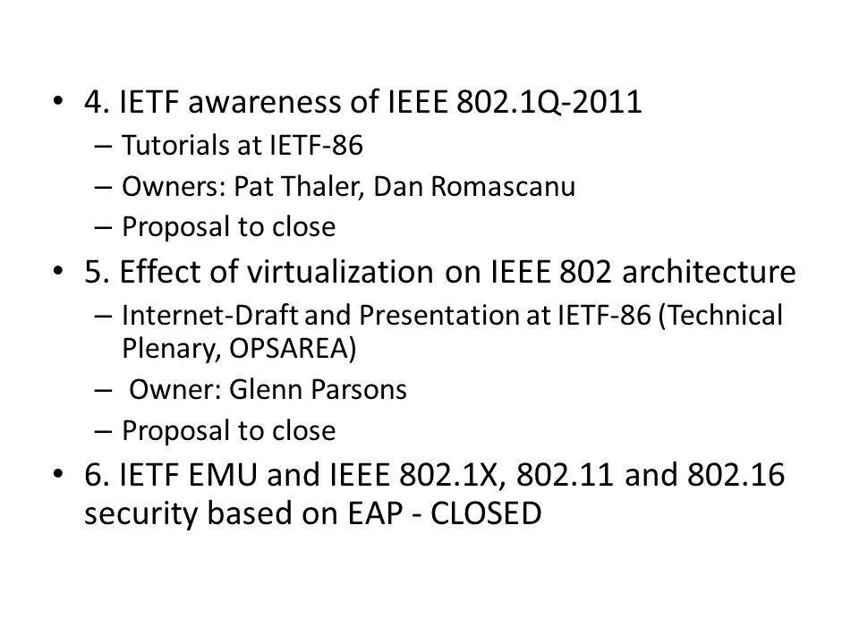 4. IETF awareness of IEEE 802.1Q-2011 – Tutorials at IETF-86 – Owners: Pat Thaler, Dan Romascanu – Proposal to close 5. Effect of virtualization on IE