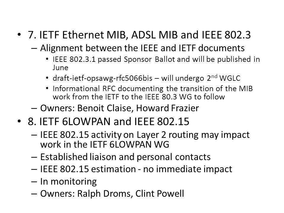 7. IETF Ethernet MIB, ADSL MIB and IEEE 802.3 – Alignment between the IEEE and IETF documents IEEE 802.3.1 passed Sponsor Ballot and will be published