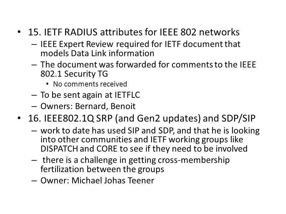 15. IETF RADIUS attributes for IEEE 802 networks – IEEE Expert Review required for IETF document that models Data Link information – The document was