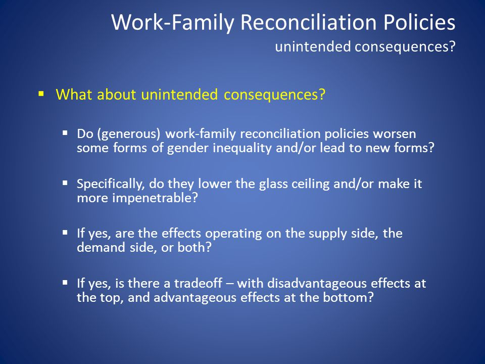 Work-Family Reconciliation Policies unintended consequences.