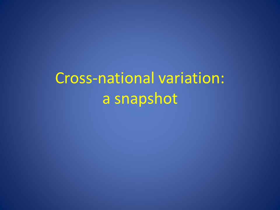 Cross-national variation: a snapshot