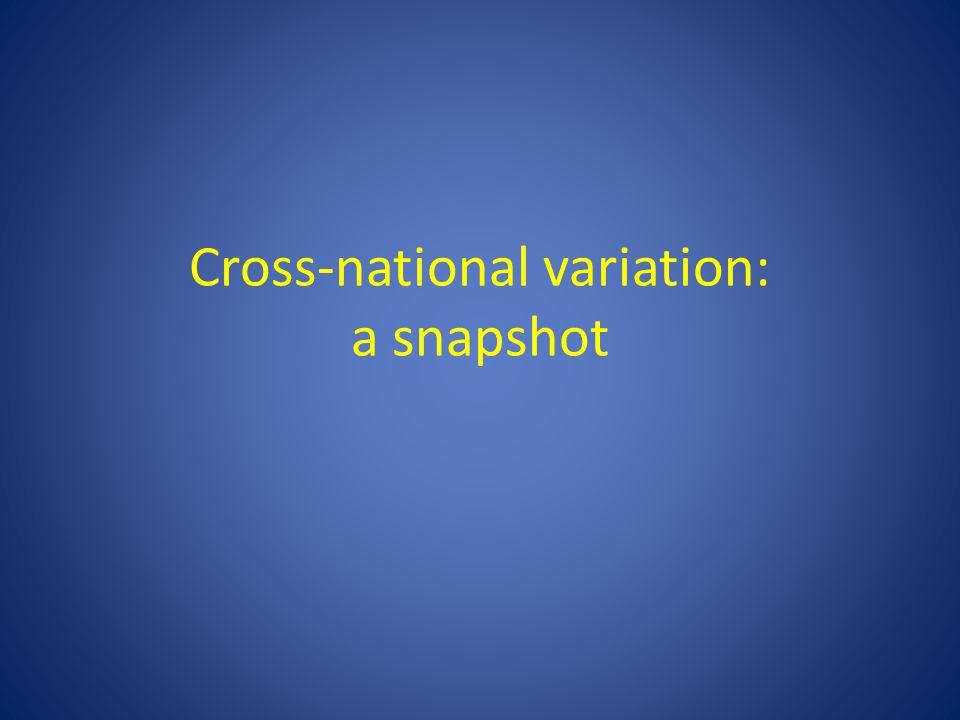 Cross-national variation: a snapshot