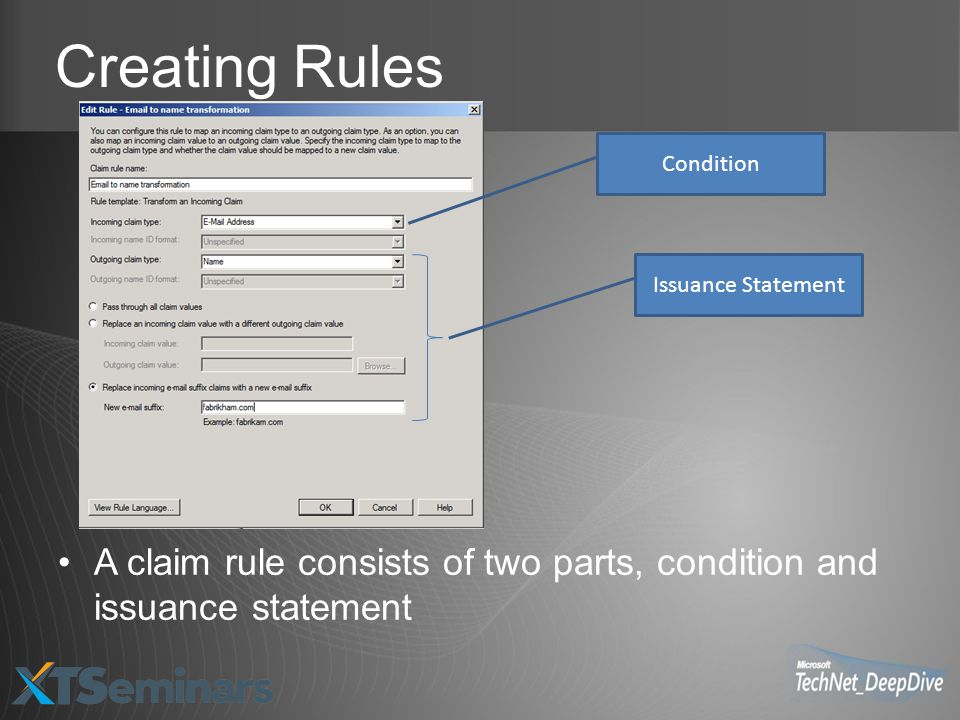 Creating Rules A claim rule consists of two parts, condition and issuance statement Condition Issuance Statement