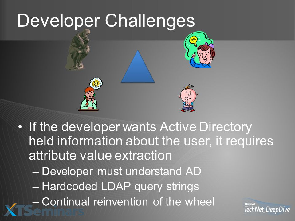 Developer Challenges If the developer wants Active Directory held information about the user, it requires attribute value extraction –Developer must understand AD –Hardcoded LDAP query strings –Continual reinvention of the wheel