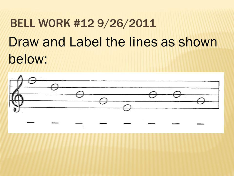 BELL WORK #12 9/26/2011 Draw and Label the lines as shown below:
