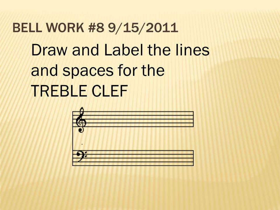 BELL WORK #8 9/15/2011 Draw and Label the lines and spaces for the TREBLE CLEF