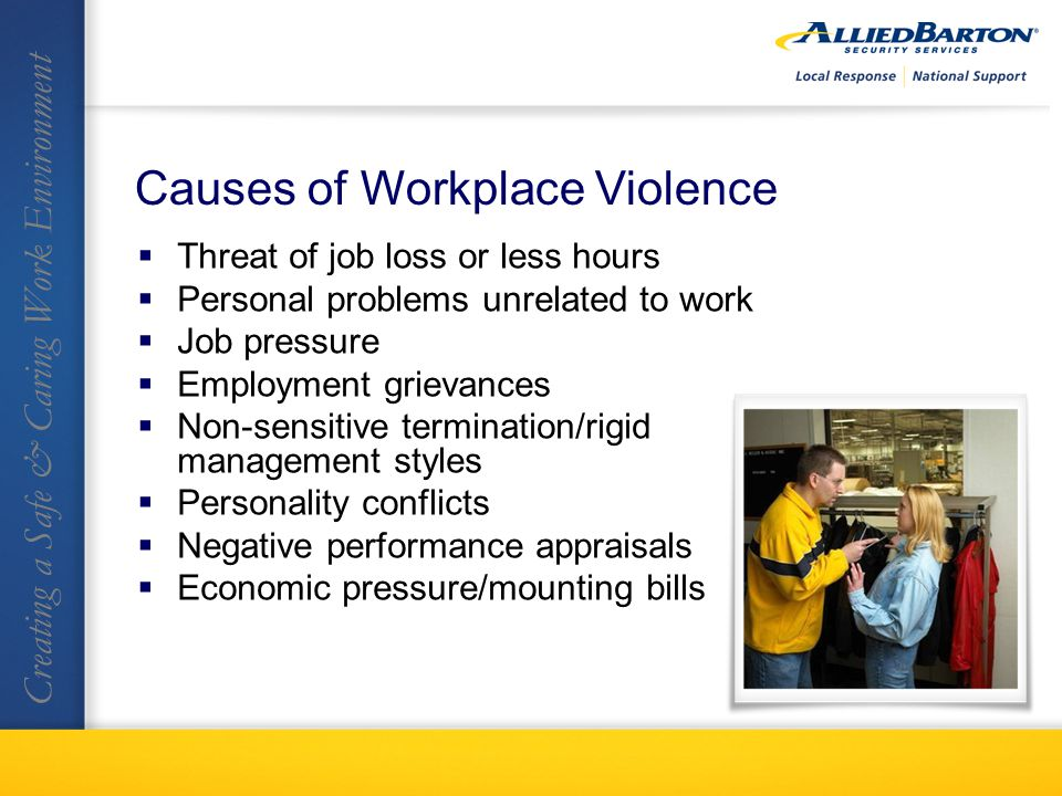 Threat of job loss or less hours Personal problems unrelated to work Job pressure Employment grievances Non-sensitive termination/rigid management styles Personality conflicts Negative performance appraisals Economic pressure/mounting bills Creating a Safe & Caring Work Environment Causes of Workplace Violence