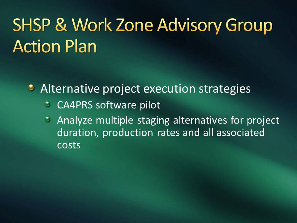 Alternative project execution strategies CA4PRS software pilot Analyze multiple staging alternatives for project duration, production rates and all as