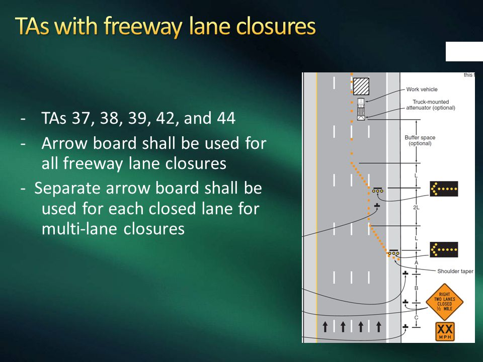 -TAs 37, 38, 39, 42, and 44 -Arrow board shall be used for all freeway lane closures - Separate arrow board shall be used for each closed lane for mul