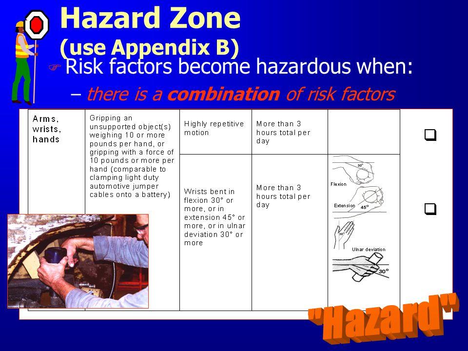 F Risk factors become hazardous when: –there is a combination of risk factors Hazard Zone (use Appendix B)