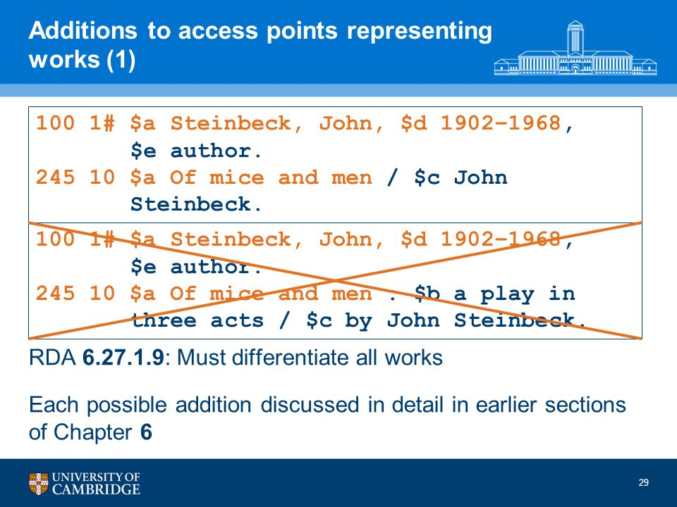 29 Additions to access points representing works (1) RDA 6.27.1.9: Must differentiate all works Each possible addition discussed in detail in earlier sections of Chapter 6 100 1# $a Steinbeck, John, $d 1902–1968, $e author.