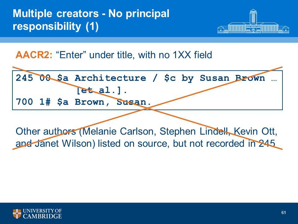61 Multiple creators - No principal responsibility (1) 245 00 $a Architecture / $c by Susan Brown … [et al.]. 700 1# $a Brown, Susan. AACR2: Enter und
