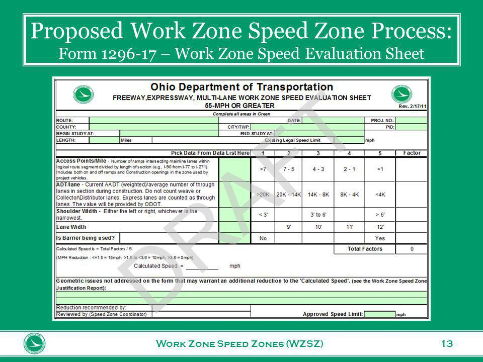 www.transportation.ohio.gov 13 Proposed Work Zone Speed Zone Process: Form 1296-17 – Work Zone Speed Evaluation Sheet Work Zone Speed Zones (WZSZ) DRAFT