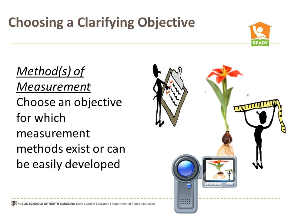 Choosing a Clarifying Objective Method(s) of Measurement Choose an objective for which measurement methods exist or can be easily developed