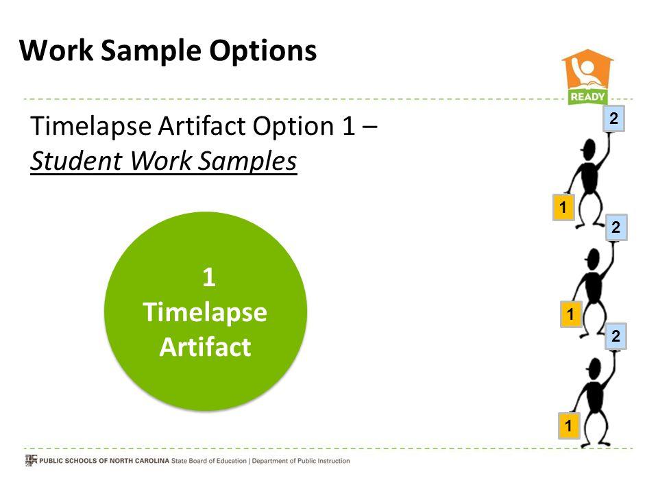 Timelapse Artifact Option 1 – Student Work Samples Work Sample Options 1 2 1 2 1 2 1 Timelapse Artifact