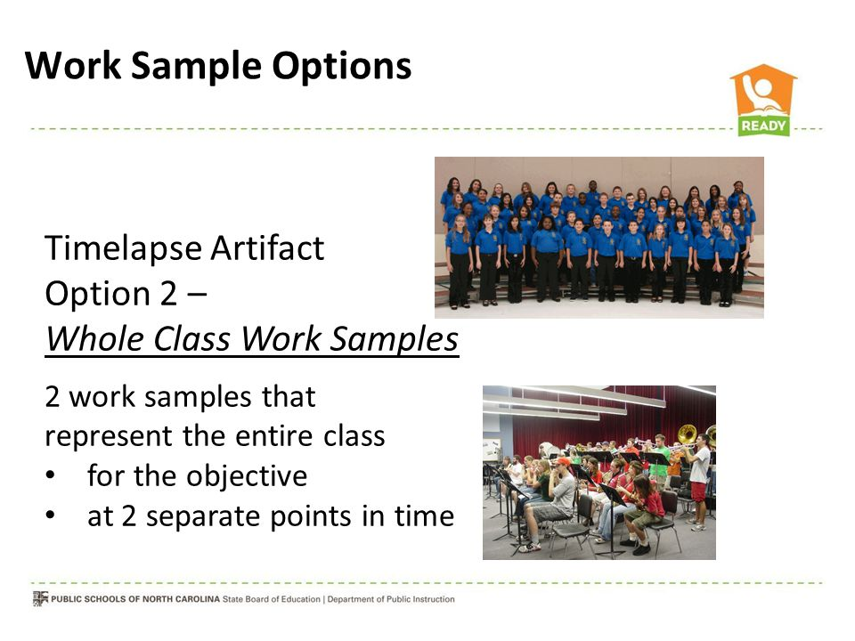 Timelapse Artifact Option 2 – Whole Class Work Samples 2 work samples that represent the entire class for the objective at 2 separate points in time W