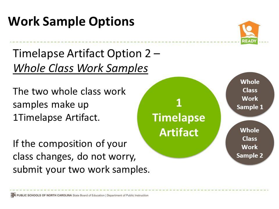 Timelapse Artifact Option 2 – Whole Class Work Samples The two whole class work samples make up 1Timelapse Artifact. If the composition of your class