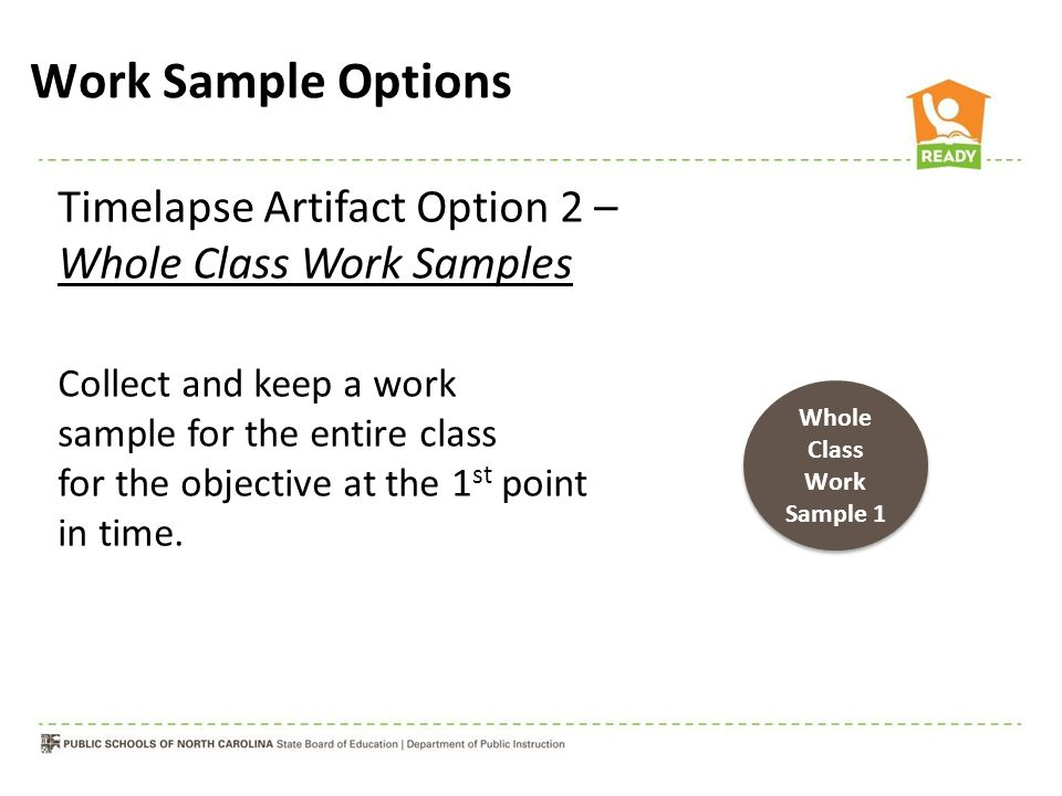 Timelapse Artifact Option 2 – Whole Class Work Samples Collect and keep a work sample for the entire class for the objective at the 1 st point in time