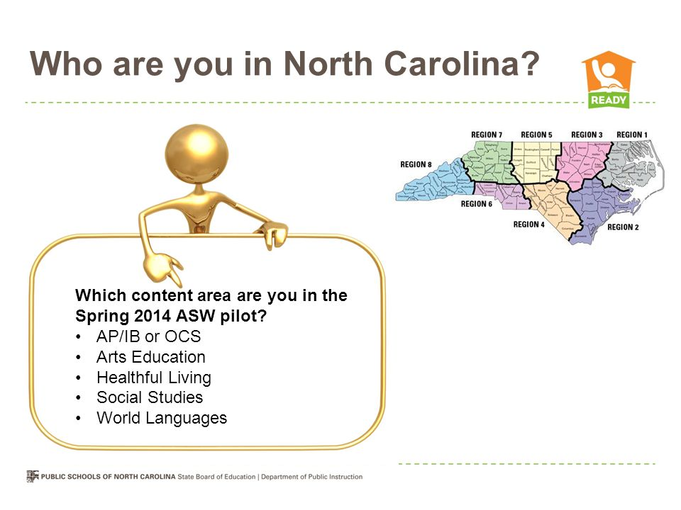 Who are you in North Carolina? Which content area are you in the Spring 2014 ASW pilot? AP/IB or OCS Arts Education Healthful Living Social Studies Wo