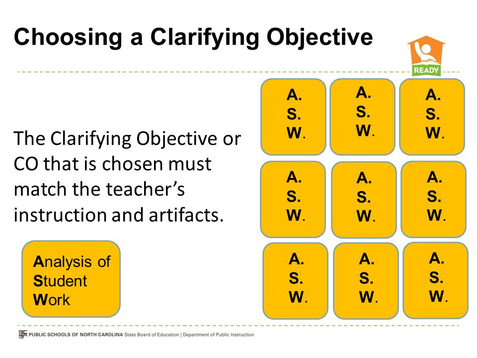 A. S. W. The Clarifying Objective or CO that is chosen must match the teachers instruction and artifacts. A. S. W. Analysis of Student Work Choosing a