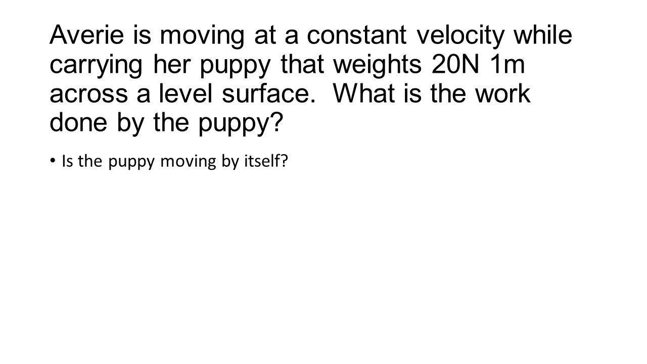 Averie is moving at a constant velocity while carrying her puppy that weights 20N 1m across a level surface.
