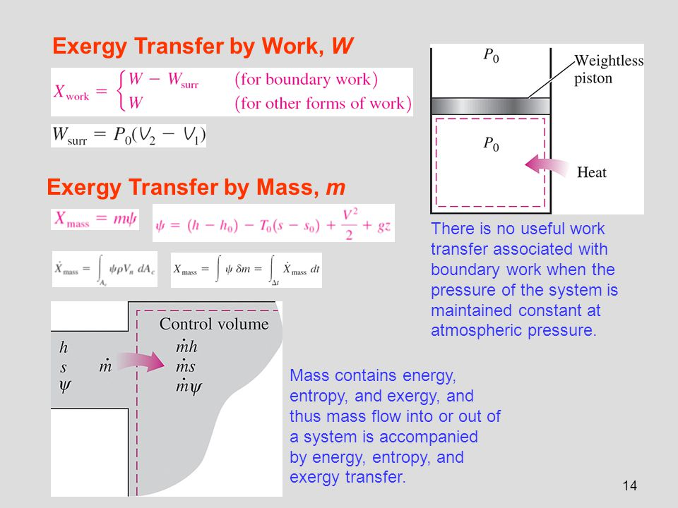14 Exergy Transfer by Work, W There is no useful work transfer associated with boundary work when the pressure of the system is maintained constant at