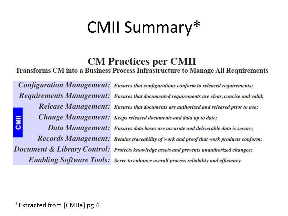 CMII Summary* *Extracted from [CMIIa] pg 4
