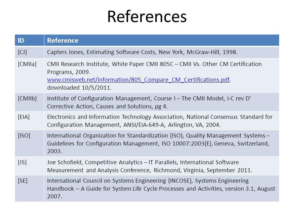 References IDReference [CJ]Capters Jones, Estimating Software Costs, New York, McGraw-Hill, 1998.