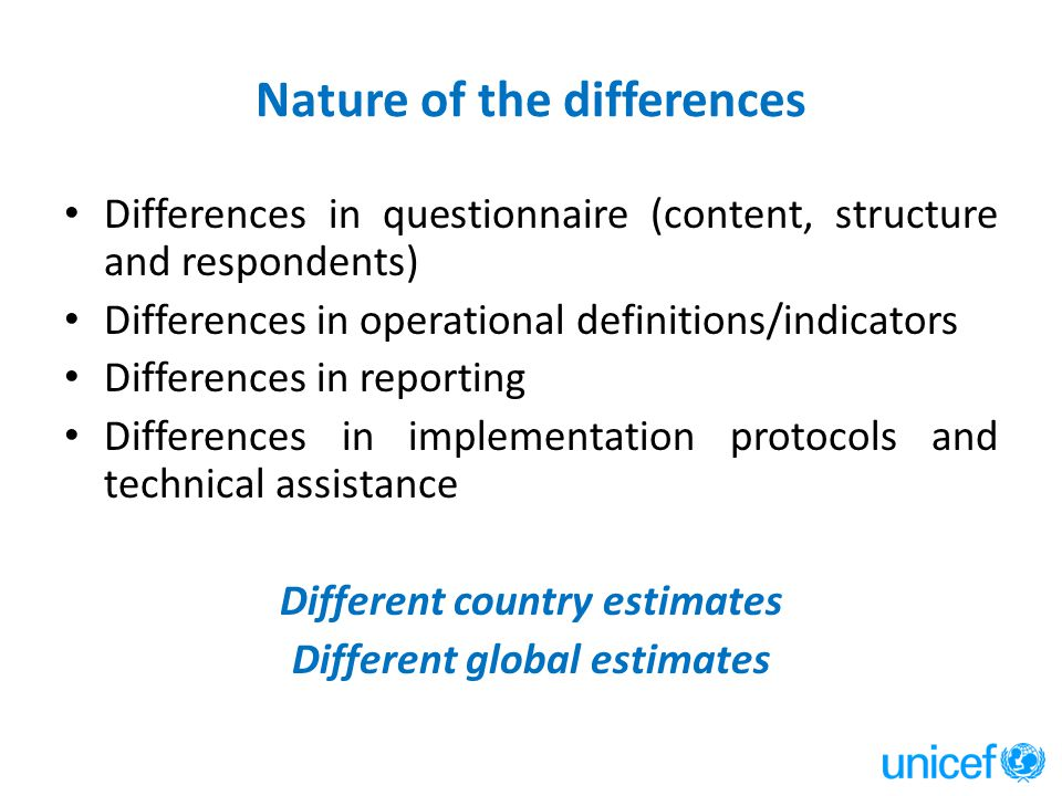Nature of the differences Differences in questionnaire (content, structure and respondents) Differences in operational definitions/indicators Differences in reporting Differences in implementation protocols and technical assistance Different country estimates Different global estimates