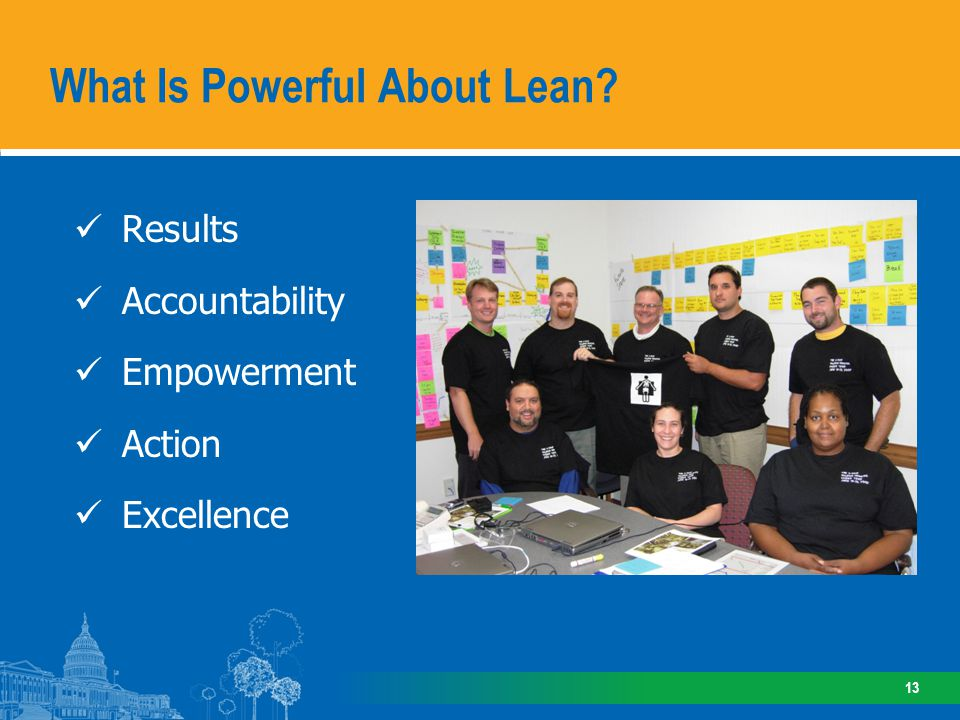 Results Accountability Empowerment Action Excellence What Is Powerful About Lean? 13