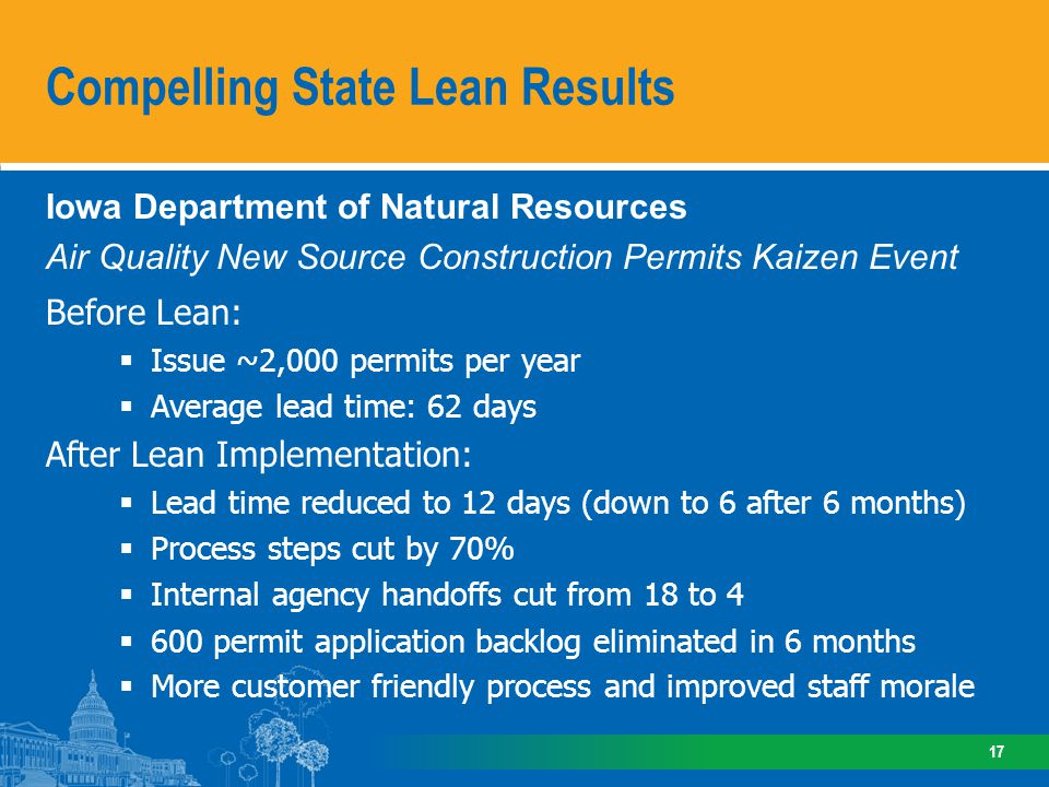 Iowa Department of Natural Resources Air Quality New Source Construction Permits Kaizen Event Before Lean: Issue ~2,000 permits per year Average lead