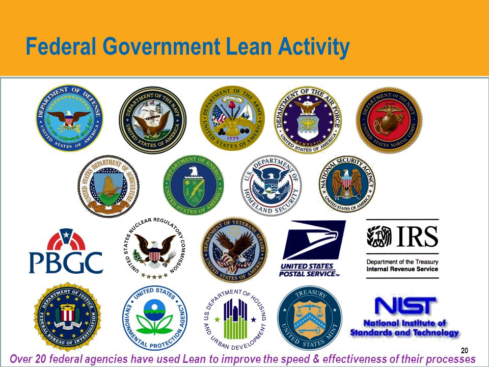 AO Federal Government Lean Activity 20 Over 20 federal agencies have used Lean to improve the speed & effectiveness of their processes