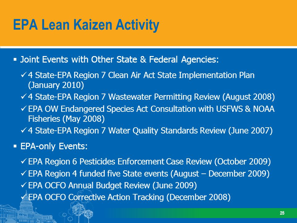 Joint Events with Other State & Federal Agencies: 4 State-EPA Region 7 Clean Air Act State Implementation Plan (January 2010) 4 State-EPA Region 7 Was