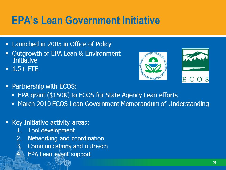 Launched in 2005 in Office of Policy Outgrowth of EPA Lean & Environment Initiative 1.5+ FTE Partnership with ECOS: EPA grant ($150K) to ECOS for Stat