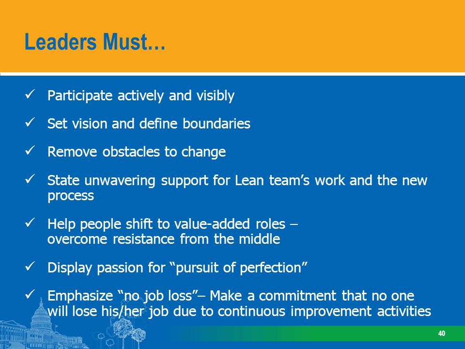 Participate actively and visibly Set vision and define boundaries Remove obstacles to change State unwavering support for Lean teams work and the new