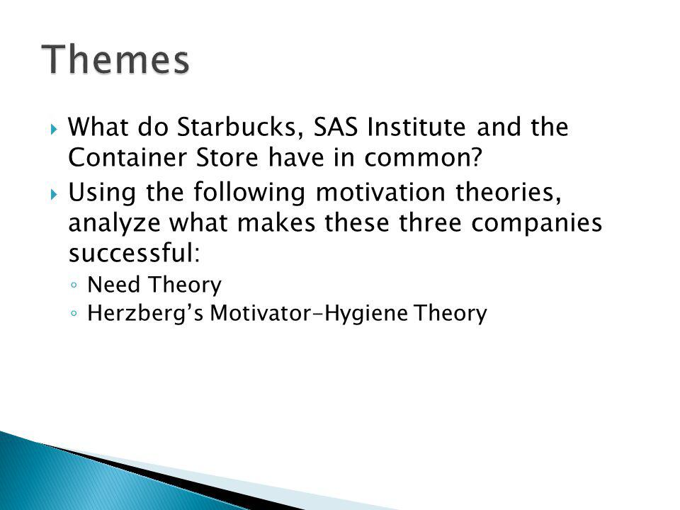What do Starbucks, SAS Institute and the Container Store have in common? Using the following motivation theories, analyze what makes these three compa