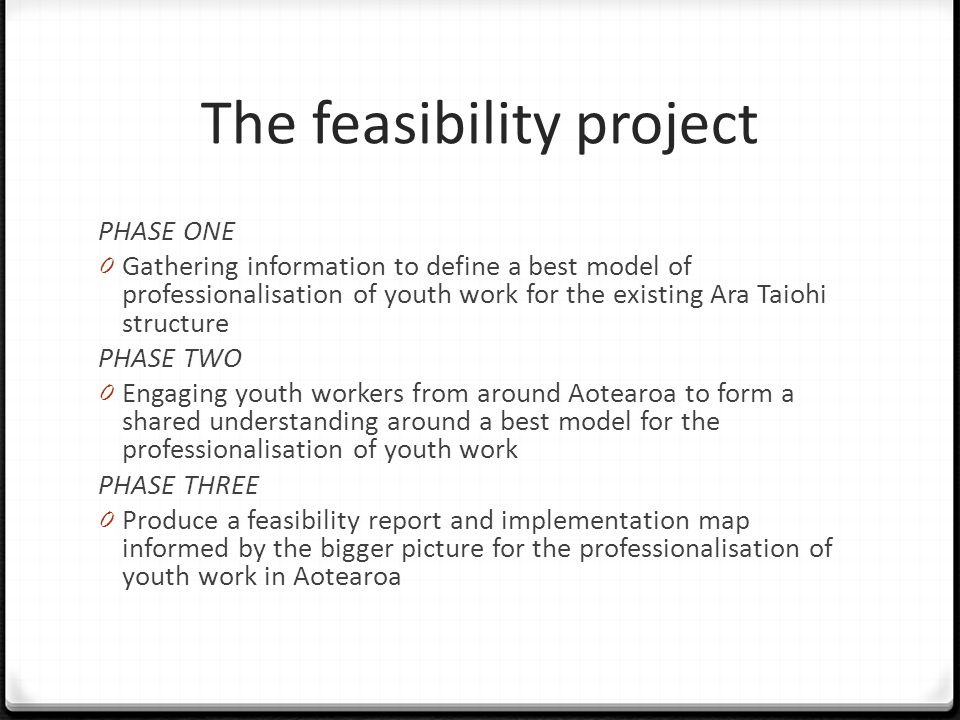 The feasibility project PHASE ONE 0 Gathering information to define a best model of professionalisation of youth work for the existing Ara Taiohi stru