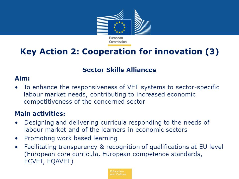 Education and Culture Key Action 2: Cooperation for innovation (3) Sector Skills Alliances Aim: To enhance the responsiveness of VET systems to sector