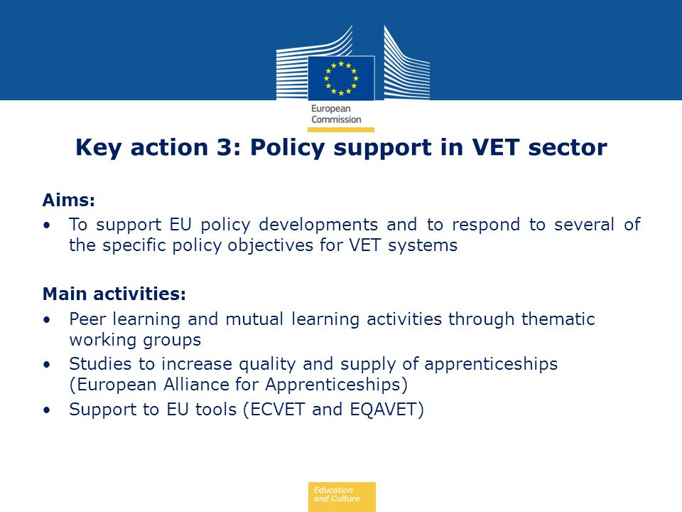 Education and Culture Key action 3: Policy support in VET sector Aims: To support EU policy developments and to respond to several of the specific pol