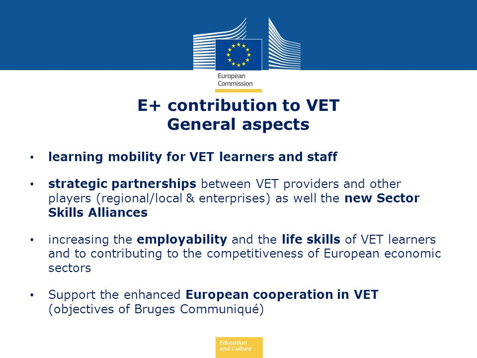 Education and Culture E+ contribution to VET General aspects learning mobility for VET learners and staff strategic partnerships between VET providers