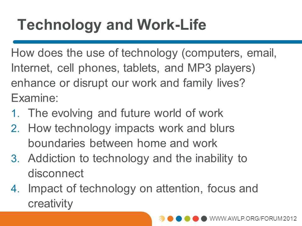 WWW.AWLP.ORG/FORUM 2012 Technology and Work-Life How does the use of technology (computers, email, Internet, cell phones, tablets, and MP3 players) enhance or disrupt our work and family lives.